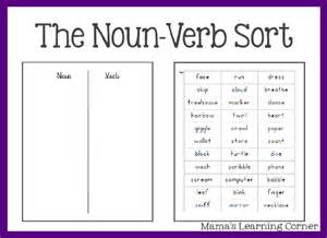 parts of speech the noun verb sort mamas learning corner