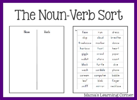 Nouns And Verbs Worksheets by Parts Of Speech The Noun Verb Sort Mamas Learning Corner