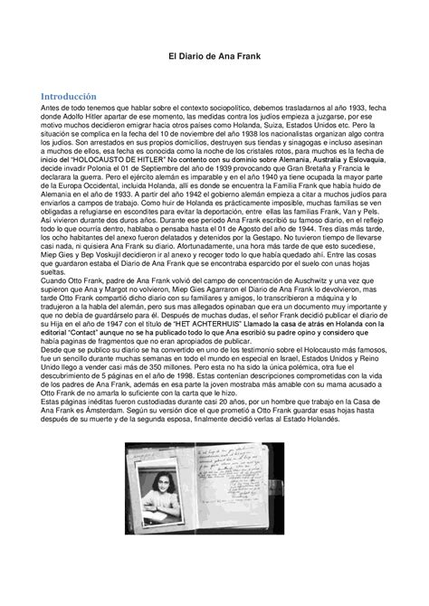 Resumen sobre el diario de Ana Frank - Docsity