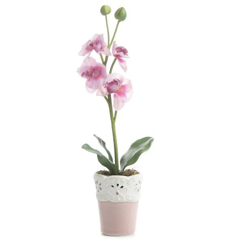 pink artificial vanda orchid planter table and