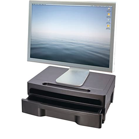 Monitor Stand Drawer by Oic Monitor Stand With Drawer Black By Office Depot