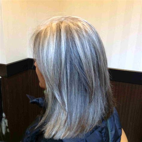 pictures of gray hair with dark lowlights transitioning to gray hair with lowlights