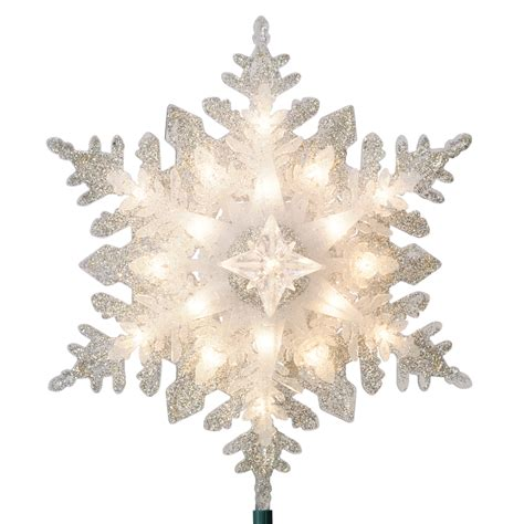 tree topper lighted shop ge 11 in silver lighted plastic snowflake
