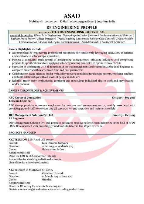 Rf Engineer Resume Format rf engineer sle resumes resume format templates