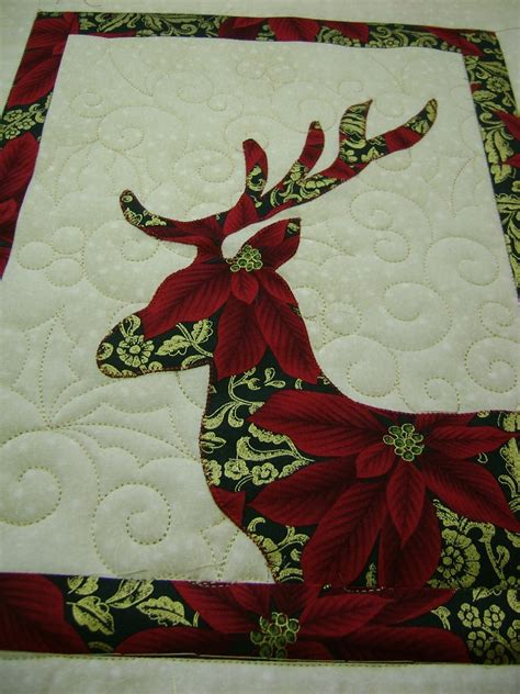 Reindeer Quilt Pattern on the frame with ceciliaquilts reindeer quilt