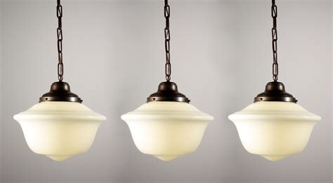 Schoolhouse Pendant Light Fixture Three Matching Antique Schoolhouse Pendant Lights Nc799 For Sale Antiques Classifieds