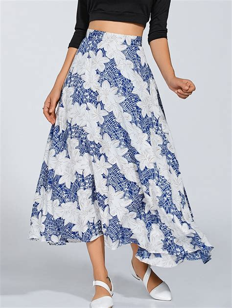 skirts blue and white flowing midi skirt gamiss
