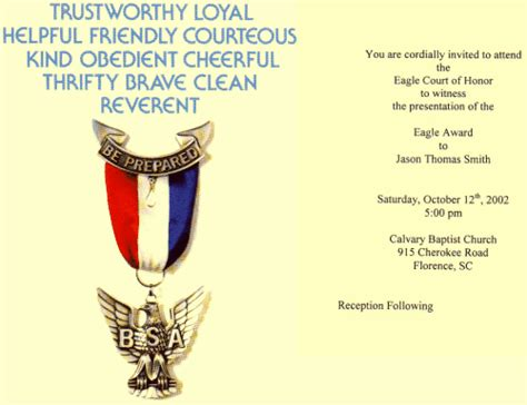 eagle scout card template eagle scout invitation cards