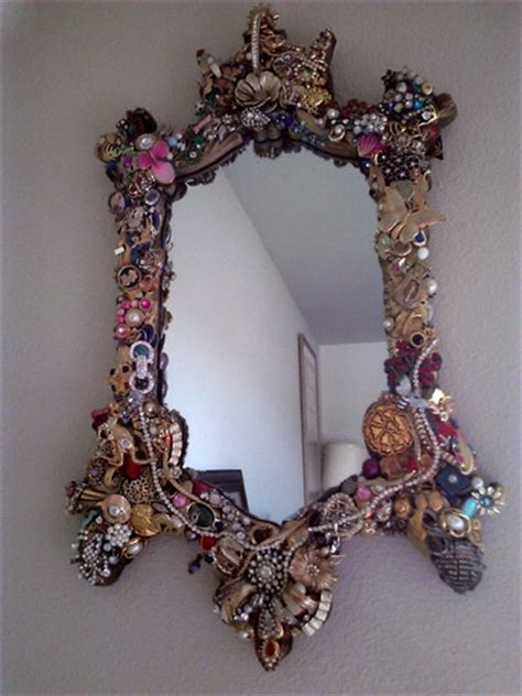 upcycled mirror upcycled vintage jeweled mirror in great condition