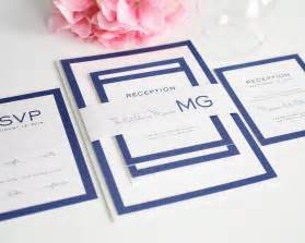 modern wedding invitations in blue with monogram wedding invitations