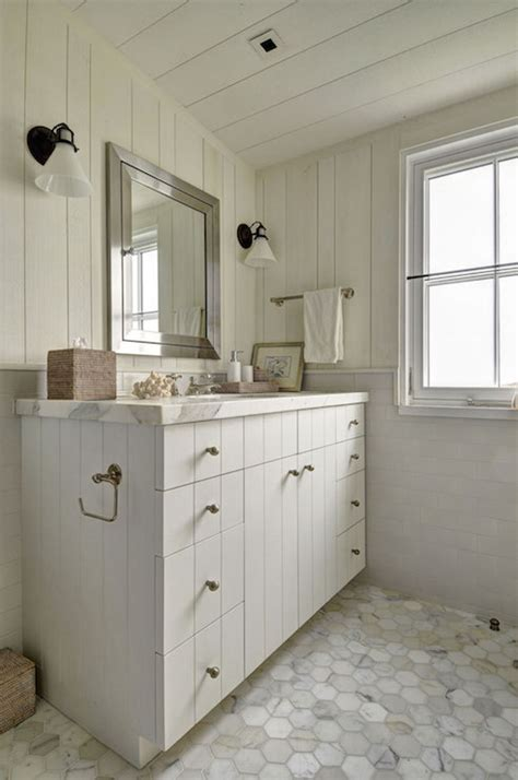 Brick Kitchen Backsplash Bathroom With Plank Walls And Ceiling Country Bathroom
