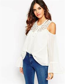 shoulder tops asos cold shoulder lace insert top in white ivory lyst