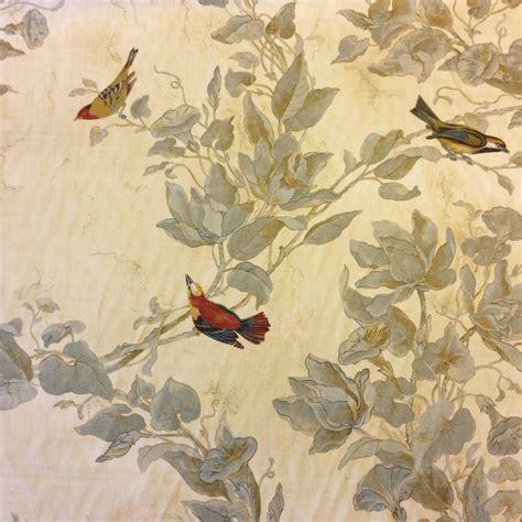 bird drapery fabric watercolor songbirds beautiful illustrated hand colored