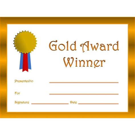 gold medal certificate template 15 ribbons certificate templates certificate templates
