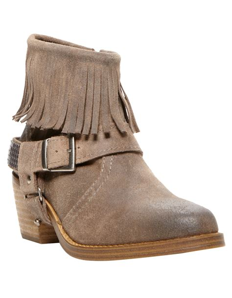 ankle boots with fringe steve madden cavvo leather fringe ankle boots in beige lyst
