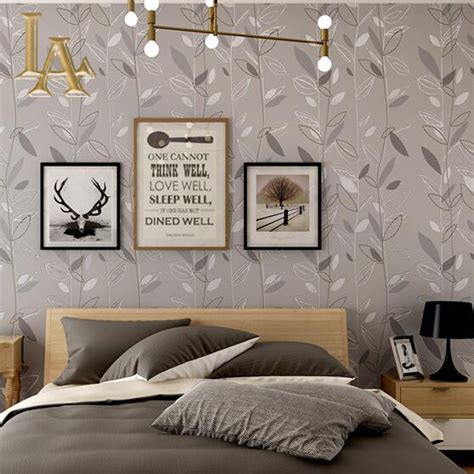 wallpaper home decor modern aliexpress com buy grey blue purple leaf modern