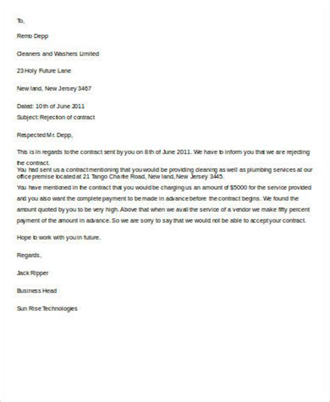 Contract Rejection Letter 8 Rejection Letter Sle Free Sle Exle Format