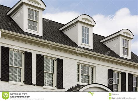 house with window white colonial house with windows stock photo image 56661811