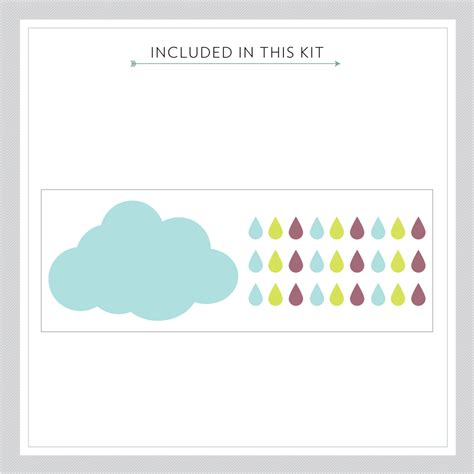 Wall Sticker Drops cloud and drops printed wall decal sticker