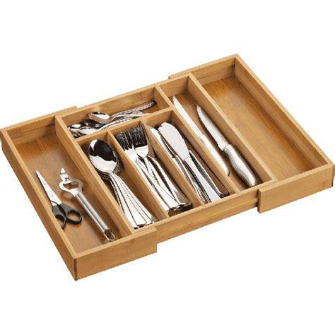 poign馥s cuisine range couverts extensible en bois de bambou