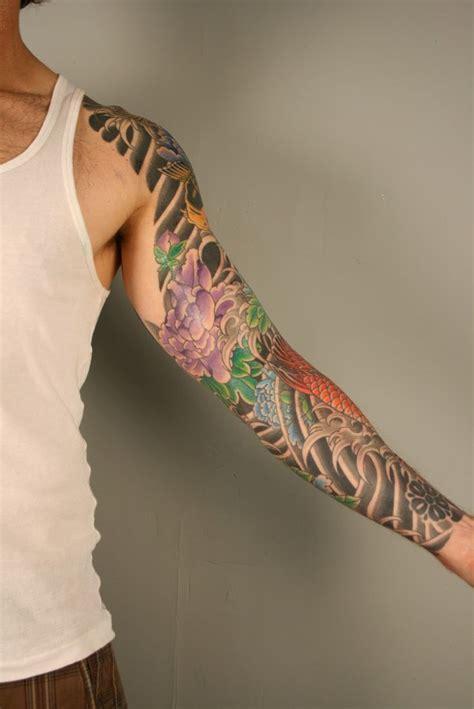 japanese tattoo john mayer daniel albrigo nyc koi and peony sleeve id 233 n 228 sta