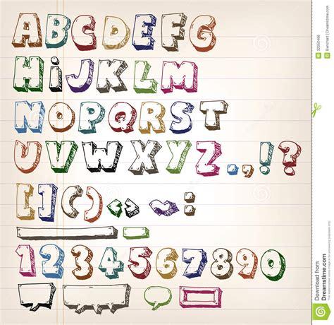 free doodle letters doodle vintage abc elements royalty free stock image