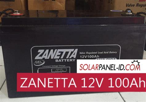 Zanetta Baterai Vrla Gel 12v 100ah jual baterai pju zanetta 12v 100ah distributor panel