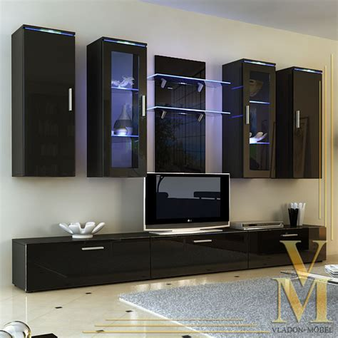 Living Room Furniture Wall Units by Wall Unit Living Room Furniture Porta In Black Black Highgloss Ebay