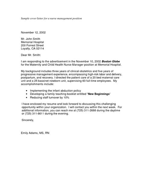 cover letter exle for application cover letter format nursing director cover letter