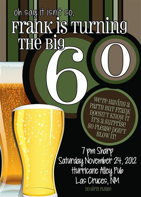 60th Birthday Surprise Party InvitationsBeer Men by