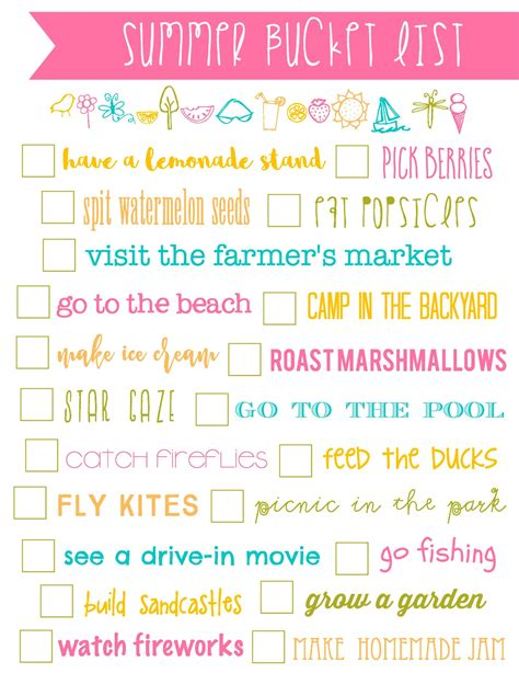summer list printable simply kierste design co