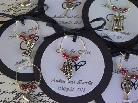 dinner party gifts custom wine themed wine charm favors weddings bridal