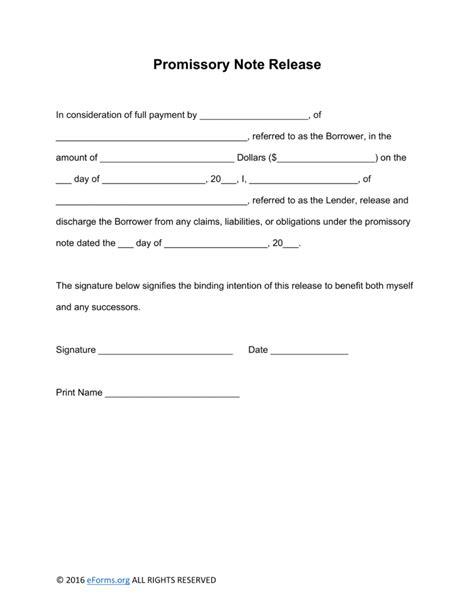 Free Promissory Note Loan Release Form Word Promissory Note Template Word Templates Trakore Promissory Note Paid In Template