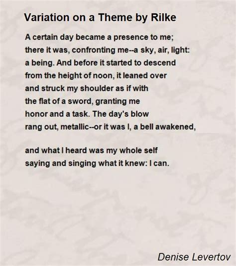theme list for poems variation on a theme by rilke poem by denise levertov