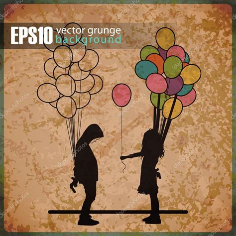 Clear St Boygirl eps10 vintage background with boy and with balloons