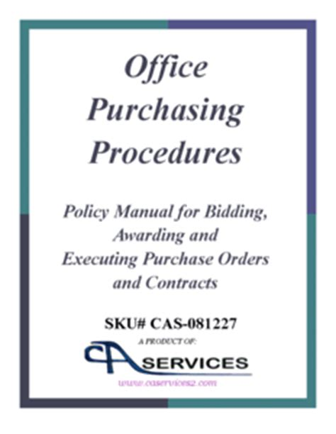 purchasing manual template office purchasing policy and procedures templates