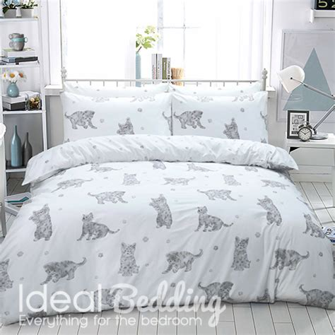 cat bed sheets grey cat print duvet set and pillowcase bedding set duvet sets complete bedding sets