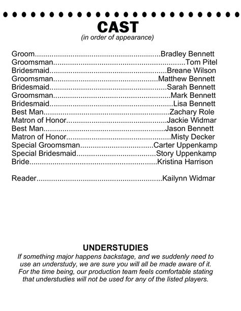 Playbill Template Playbill Template Inside