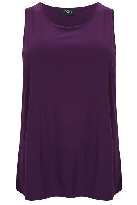 yeza detail top purple purple sleeveless top with panel detail plus size 16 to 32