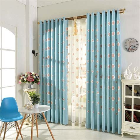 blue curtains living room blue floral embroidery linen elegant living room curtains