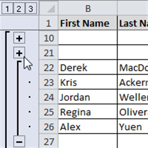 excel 2010 outlining data