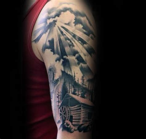 sun sleeve tattoo designs 40 log cabin designs for dwelling ink ideas