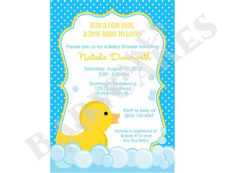 Duck Baby Shower Invitations by Rubber Ducky Baby Shower Invitation Diy Print Your By