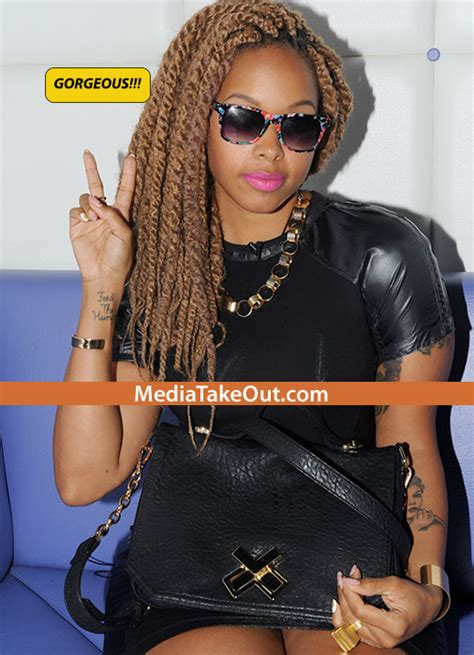 honey blonde senegalese chrisette michele rocks havana twists with shaved side and