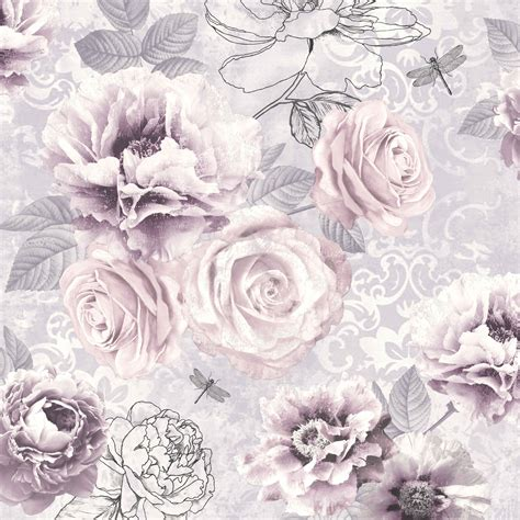 wallpaper grey and lilac graham brown fresco pink purple grey floral wallpaper
