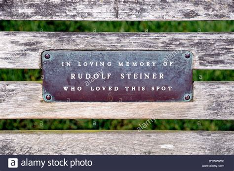 park bench plaques plaque on park bench in memory of rudolf steiner who loved this spot stock photo