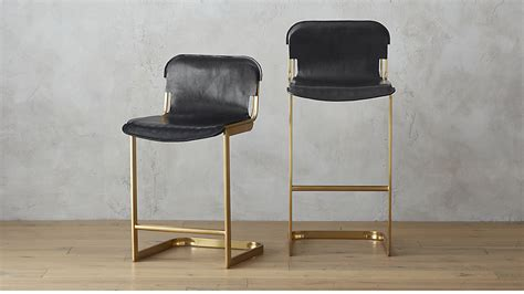 Leather Sling Bar Stool by Rake Brass Bar Stools Cb2