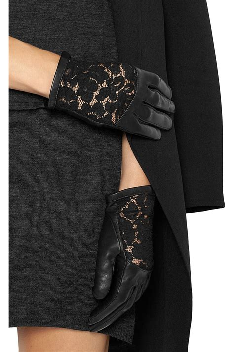 Glove Leather New Black For And Lace Back Knope lyst ricci leather and lace gloves in black