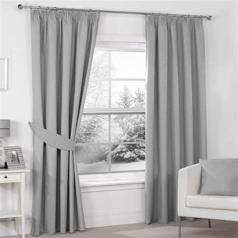 Luna Silver Grey Luxury Thermal Blackout Pencil Pleat Curtains Pair Julian Charles » Home Design 2017