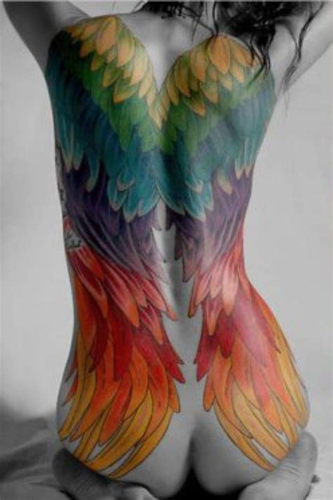 coloured angel tattoo angel wings tattoo too much but i like the color inked